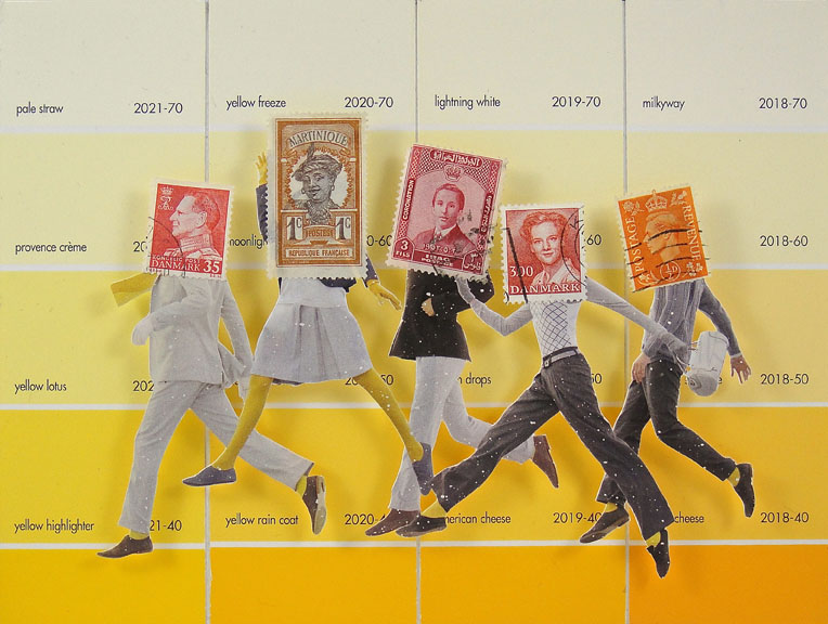 Collage made from postage stamps, magazine clippings and paint chips: Yellow Freeze (2015) 8X6