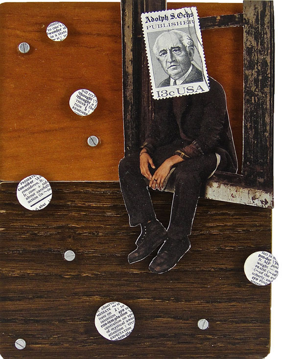 Collage made from postage stamps, magazine clippings and mixed media: Thinking (2015) 6x8