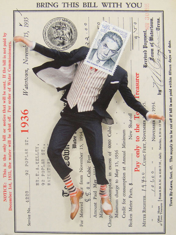 Collage made from postage stamps, magazine clippings and a 1936 water bill (2015) 6x8