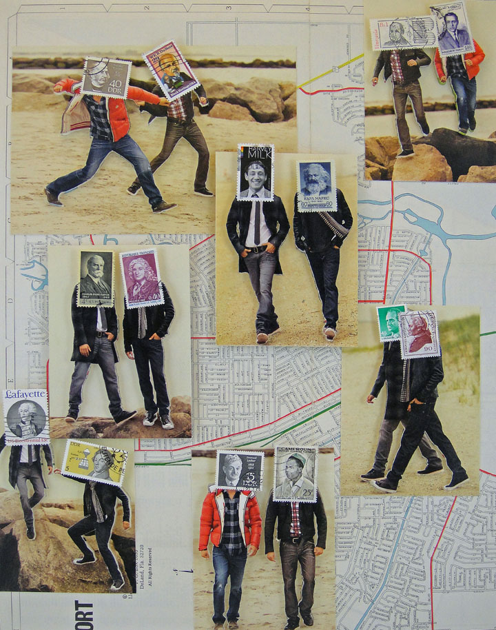 Collage made from postage stamps, magazine clippings and old maps: Thanksgiving (2015) 14x18