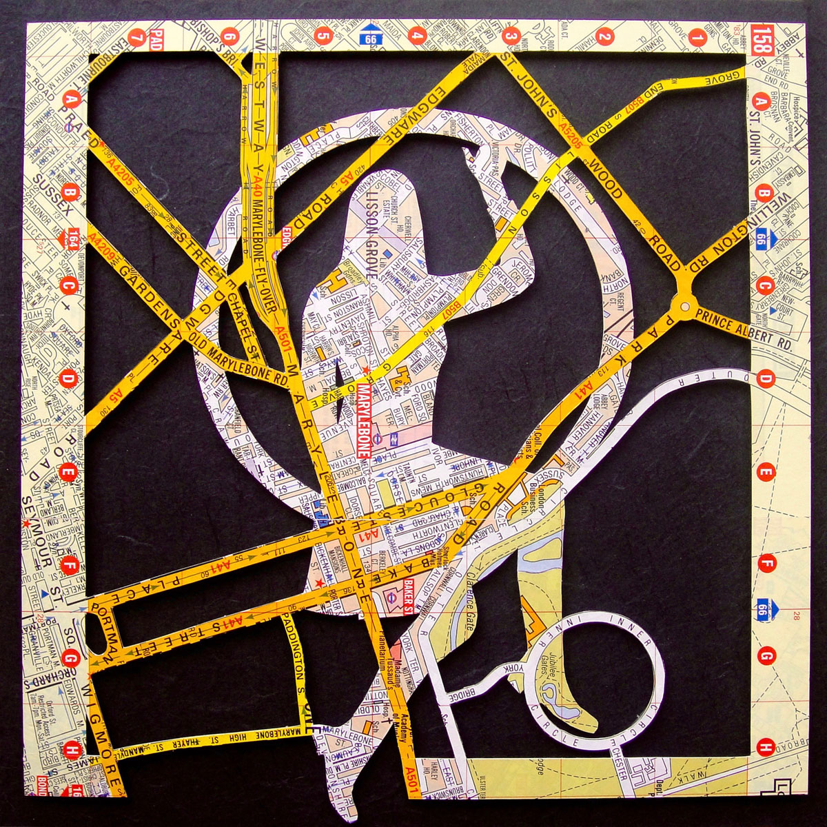Only once did she forget to change out of her business school clothes before going to her glamorous night job as an aerialist performer. (2016) 12x12: Mixed Media Collage.