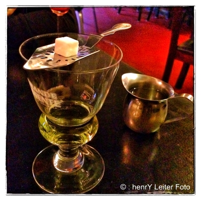 Glass of Absinthe at the Bar of Chocolate, Portland, Maine