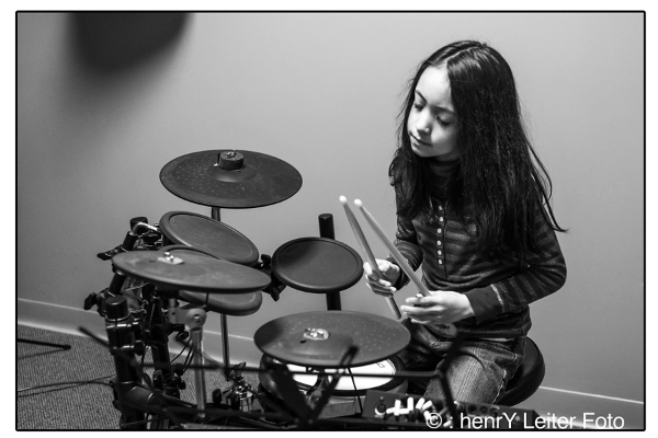Gorham School of Music student learning the Electric Drum Kit.