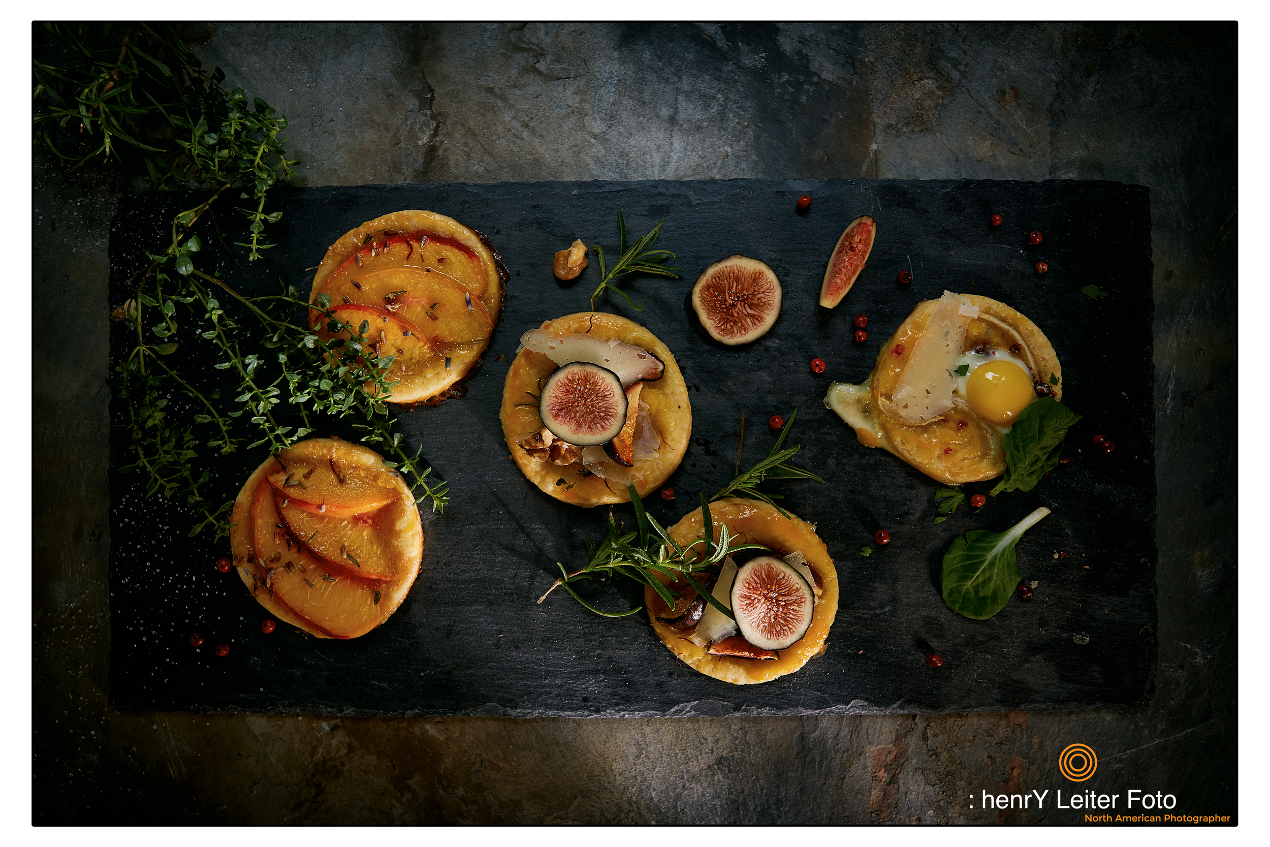 Sweet + Savory Tarts topped with quail eggs