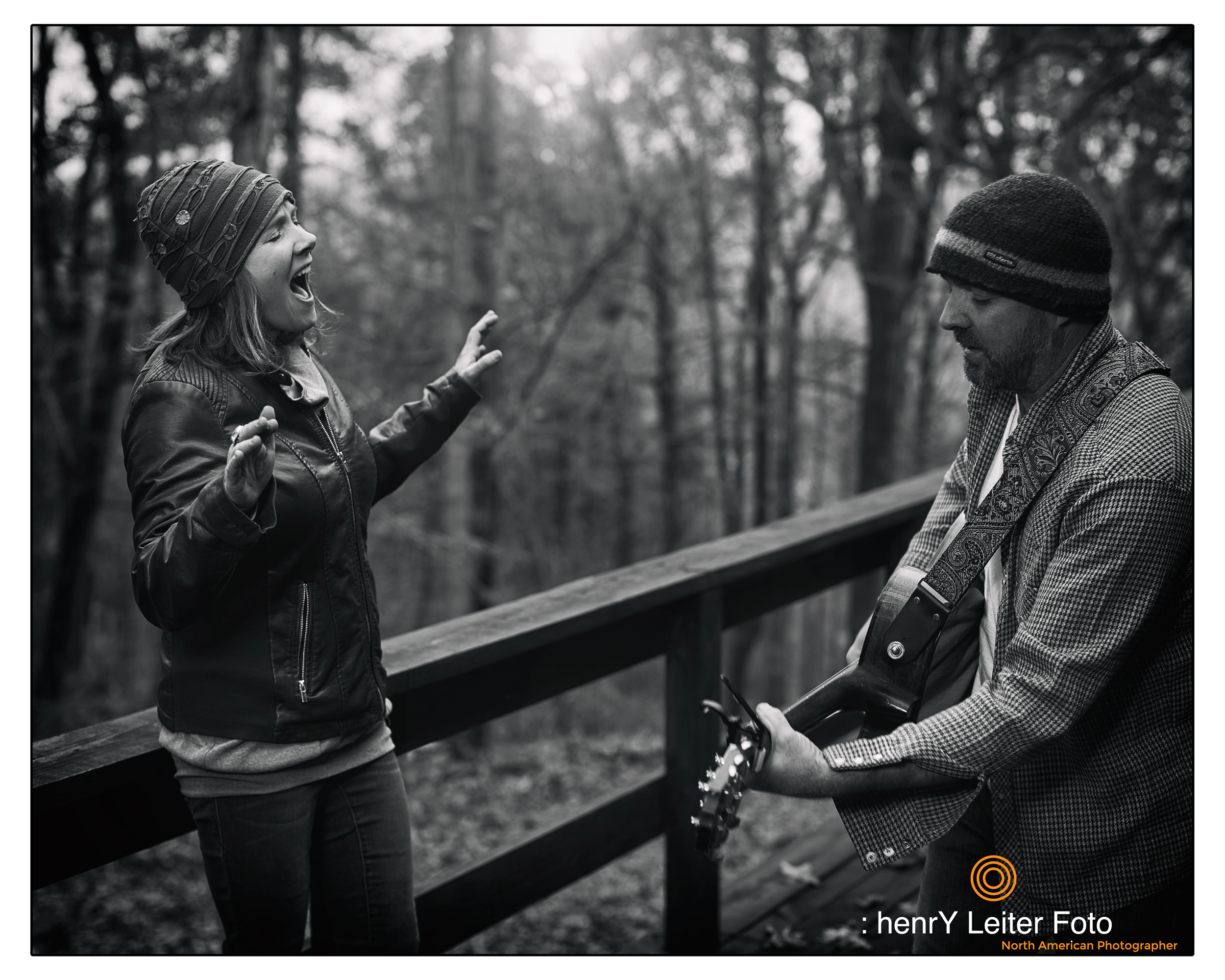 Courtney DeCosky and Jeffrey Williams performing on their deck in Gambier, Ohio by photographer henrY Leiter.