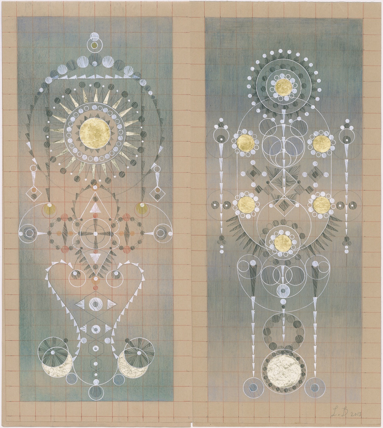 Constellation Symptom No. 16,Colored Pencil,Graphite, Gold Leaf on Antique Ledger Book Pages.13.5 x 12.25 inches