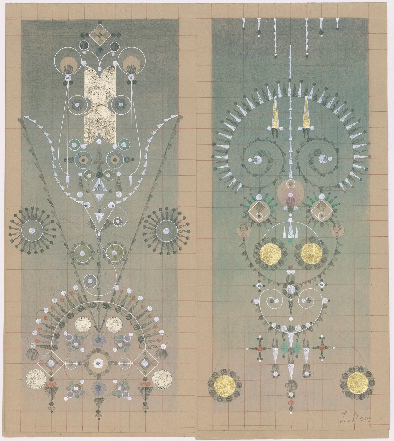 Constellation Symptom No. 17,Colored Pencil,Graphite, Gold Leaf on Antique Ledger Book Pages.13.5 x 12.25 inches