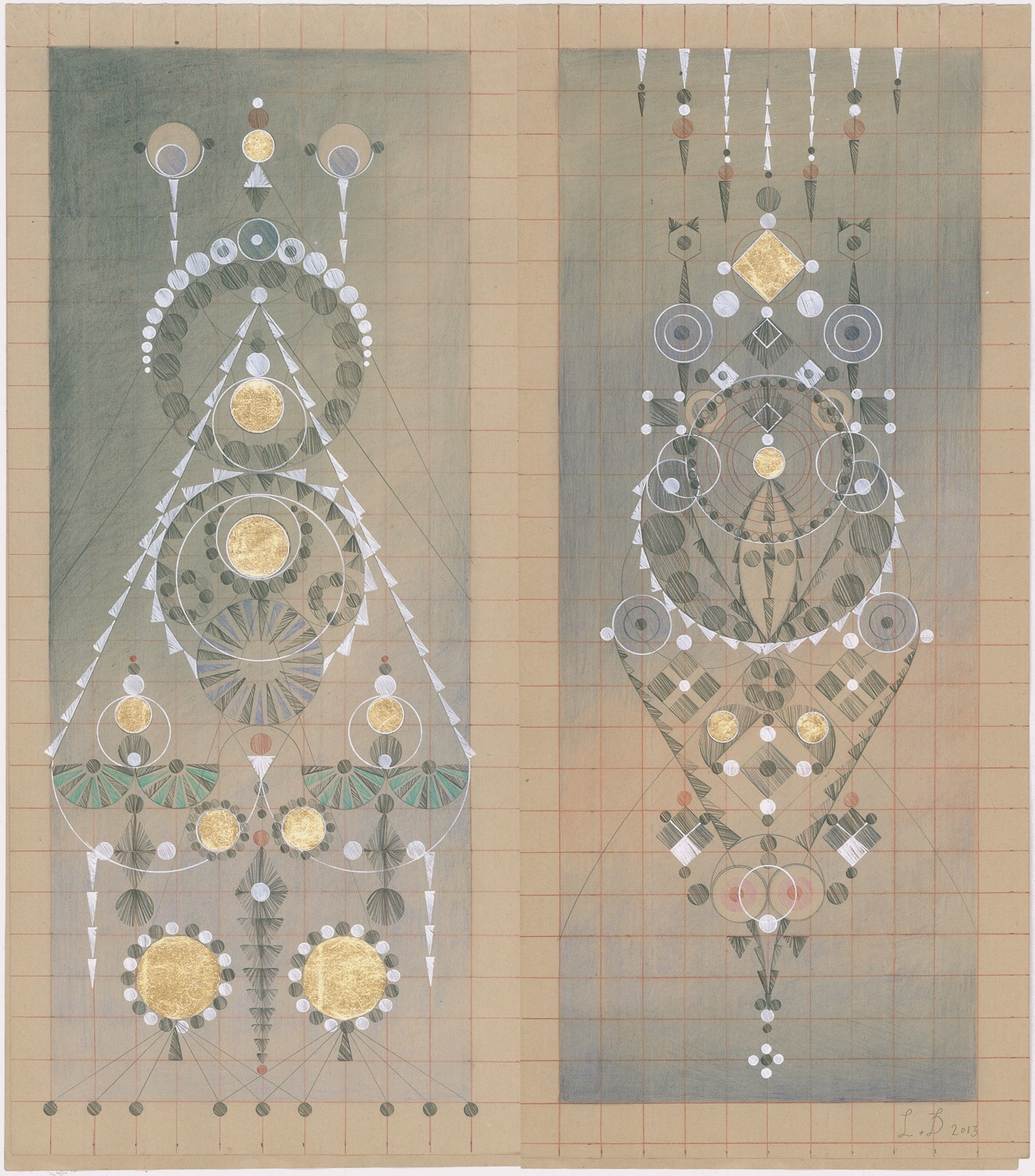 Constellation Symptom No. 19,Colored Pencil,Graphite, Gold Leaf on Antique Ledger Book Pages.13.5 x 12.25 inches