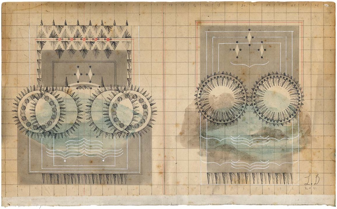 Sea Views, Colored Pencil and Graphite on Antique Ledger Book Pages. 8.5 x 13.7 inches