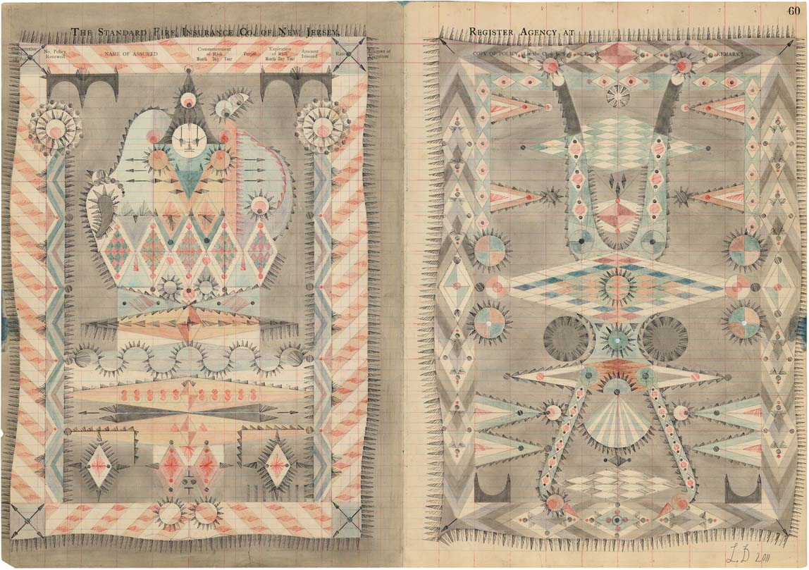 Small Performers, Colored Pencil and Graphite on Antique Ledger Book Pages. 16 x 23 inches