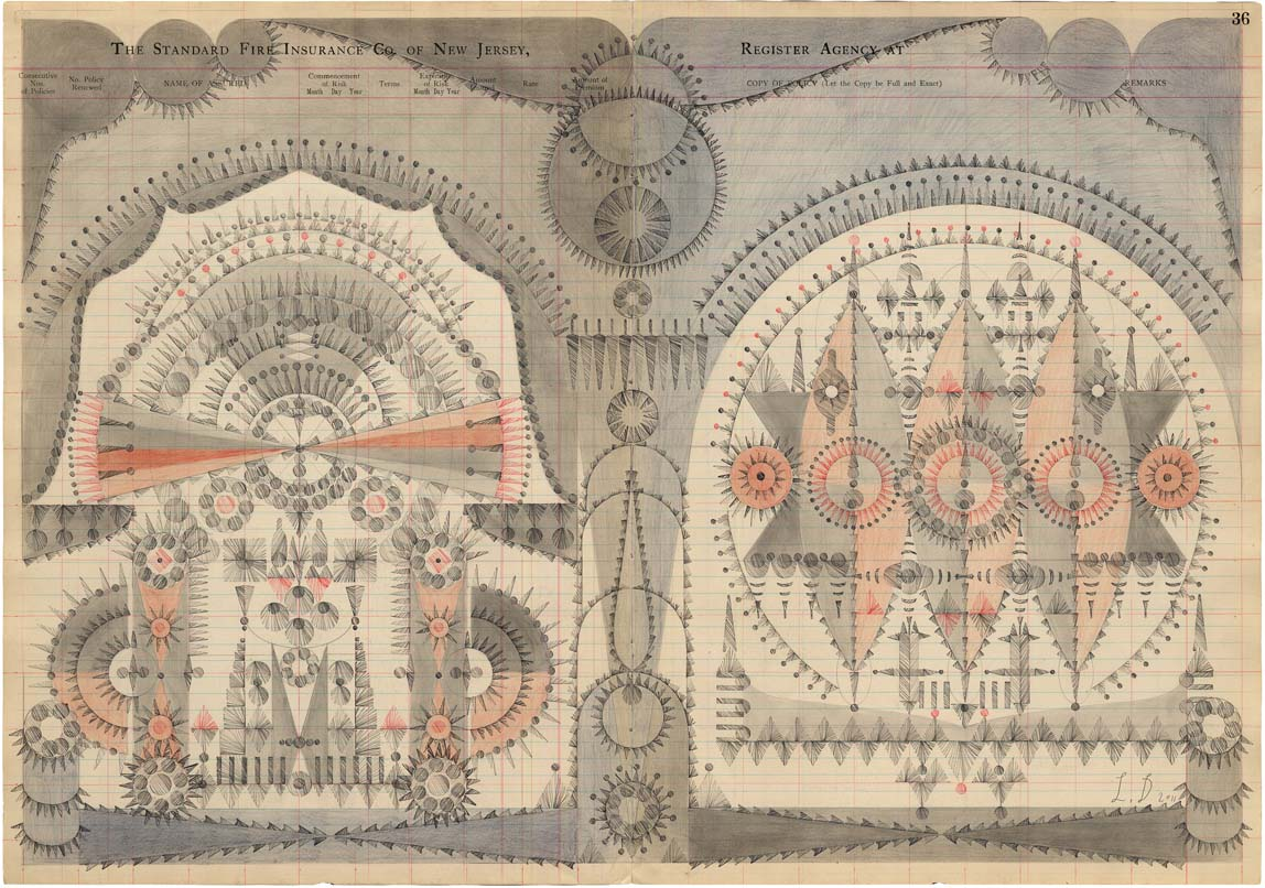 Soundings,Colored Pencil and Graphite on Antique Ledger Book Pages.16 x 23 inches