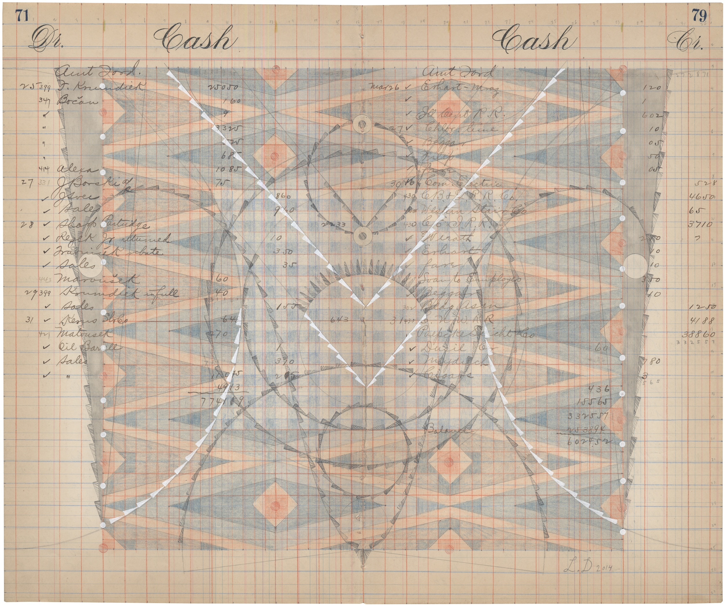 Cash Book No.71-79,Colored Pencil and Graphite on Antique Ledger Book Pages.13.75 x 16.75 inches