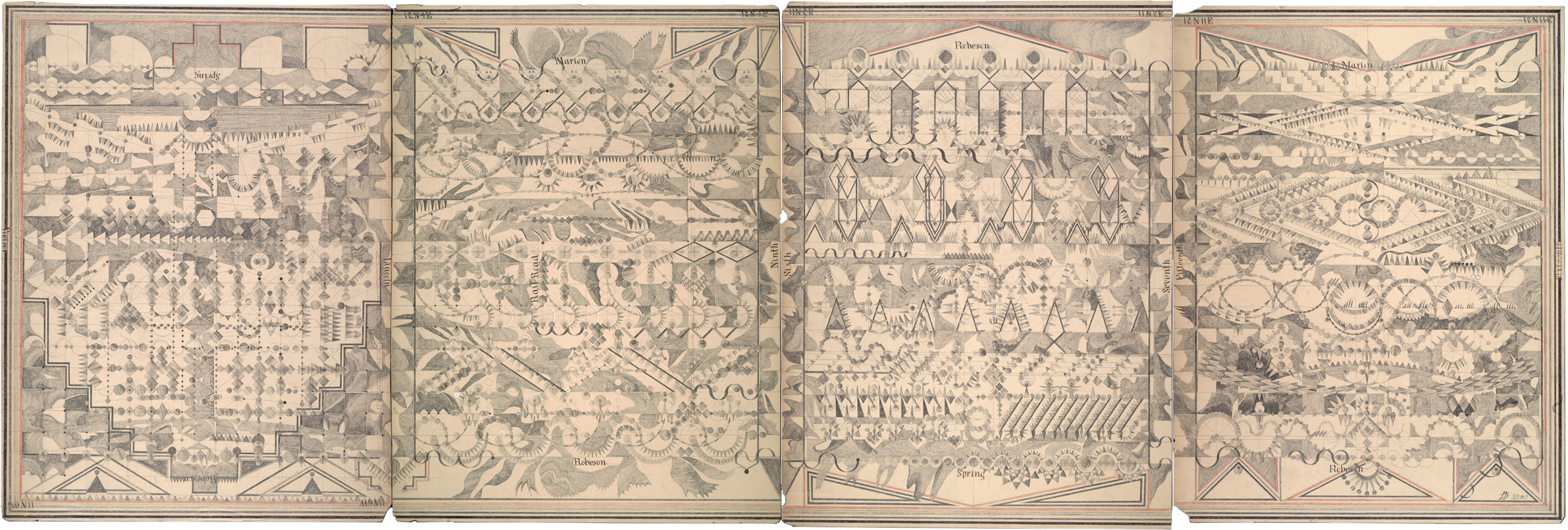 Winter's Telephone,Graphite on Antique Ledger Book Pages.25 x 72 inches