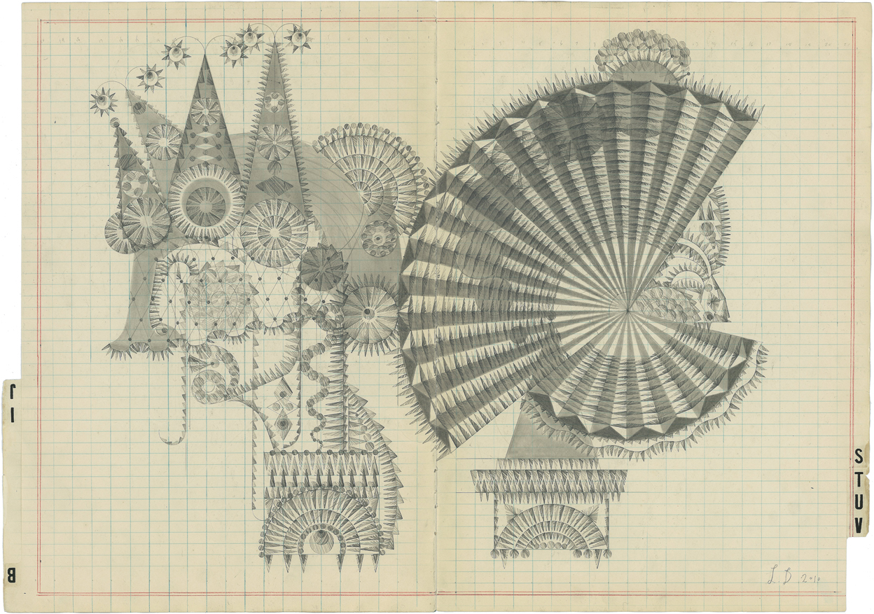 BIJ-STUV,Graphite on Antique Ledger Book Pages.16 x23 inches