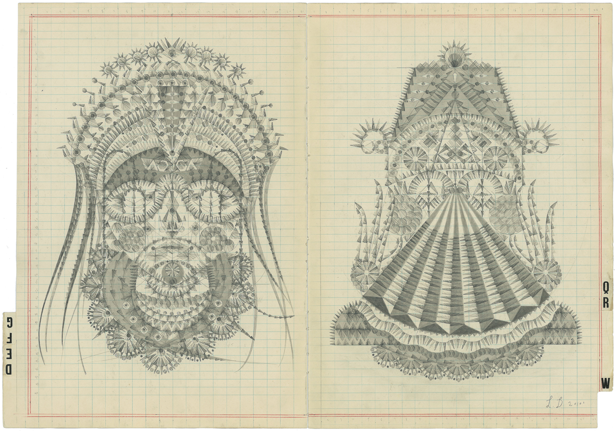 DEFG-QRW,Graphite on Antique Ledger Book Pages.16 x 23 inches