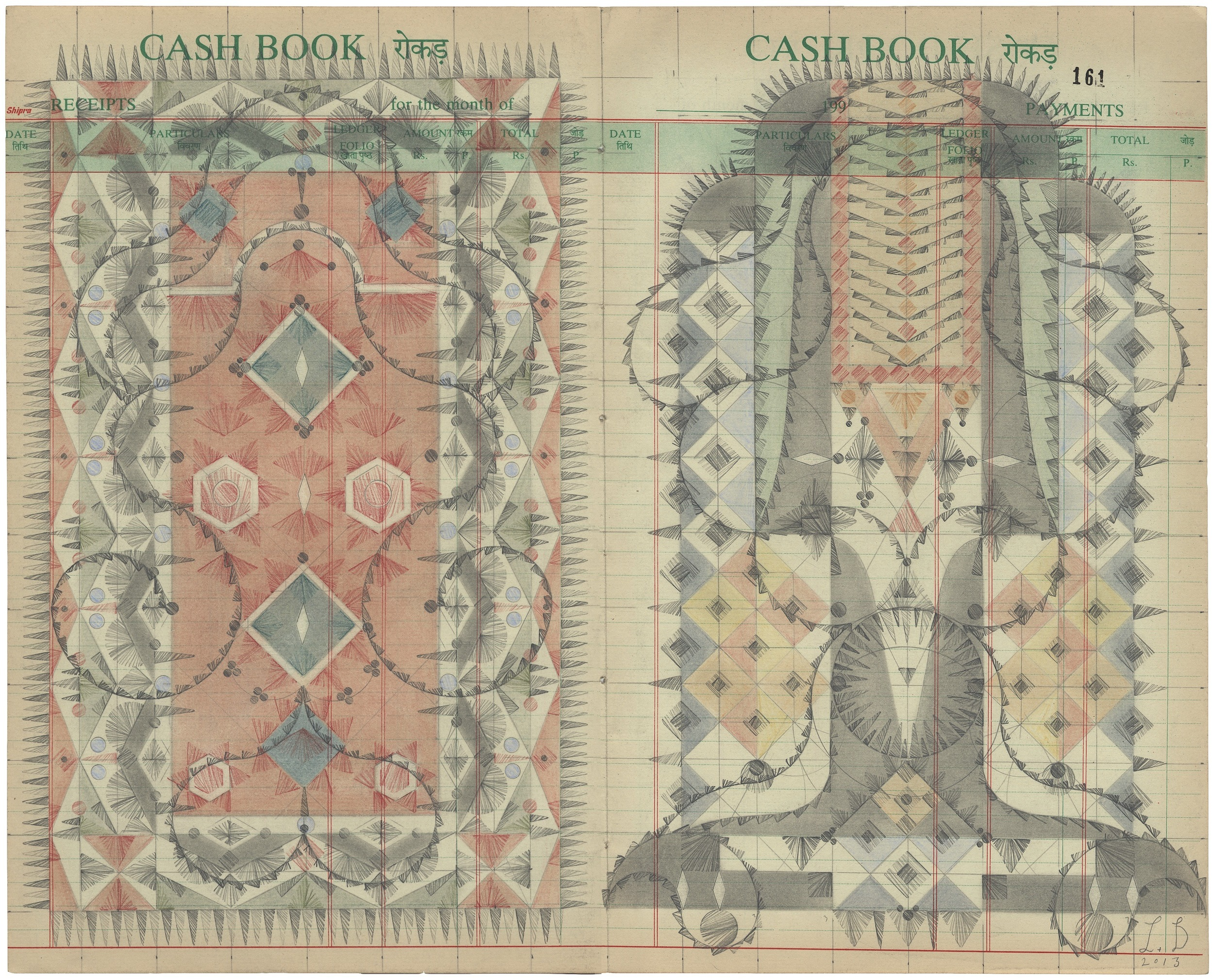 Gamelan Cashbook, Colored Pencil and Graphite on Antique Ledger Book Pages. 13.75 x 16.75 inches