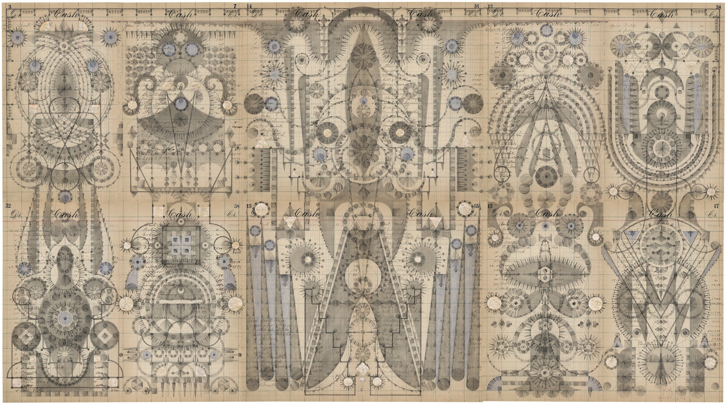 Inner Chamber.Colored Pencil and Graphite on Antique Ledger Book Pages 27.5 x 50 inches