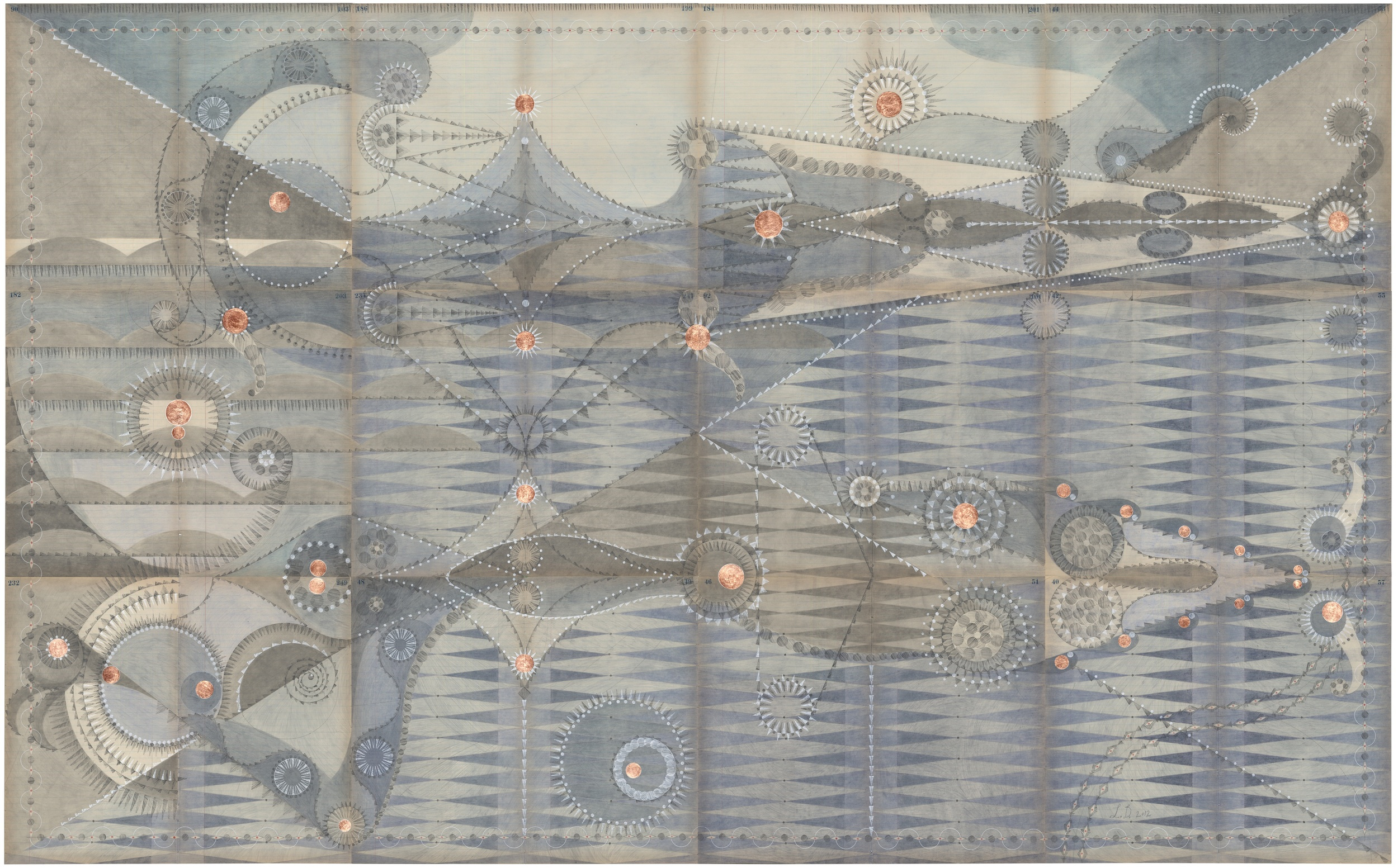 Bathing Constellation, Dusk,  Colored Pencil and Graphite on Antique Ledger Book Pages.  54.25 x 66.5