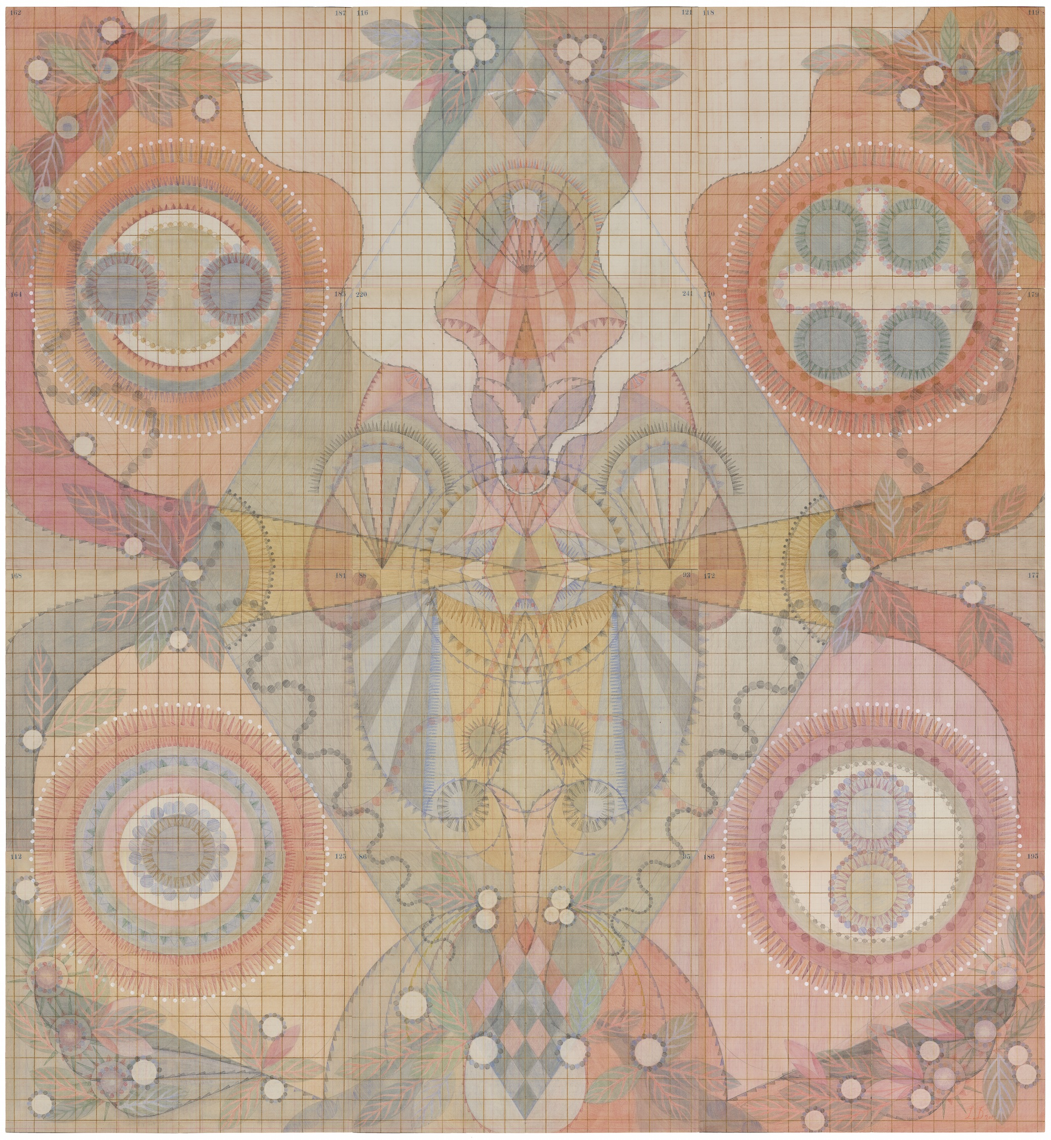 Embryo, Colored Pencil and Graphite on Antique Ledger Book Pages. 54 1/2 x 50 1/2