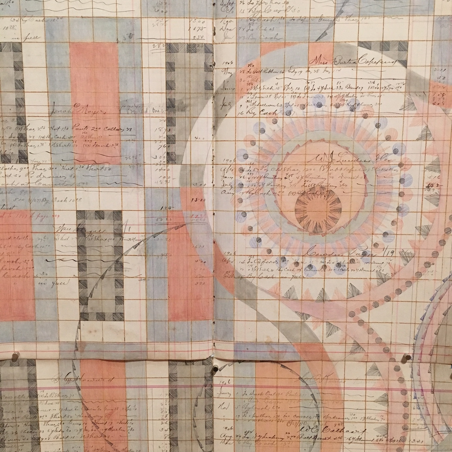 DETAIL of Creation. Colored Pencil and Graphite on Antique Ledger Book Pages. 71 1/2 x 68 1/2