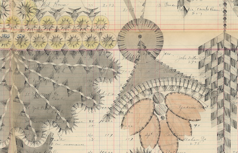 DETAIL of Couple With Clock Tower,Colored Pencil and Graphite on Antique Ledger Book Pages. 55 x 50.5 inches
