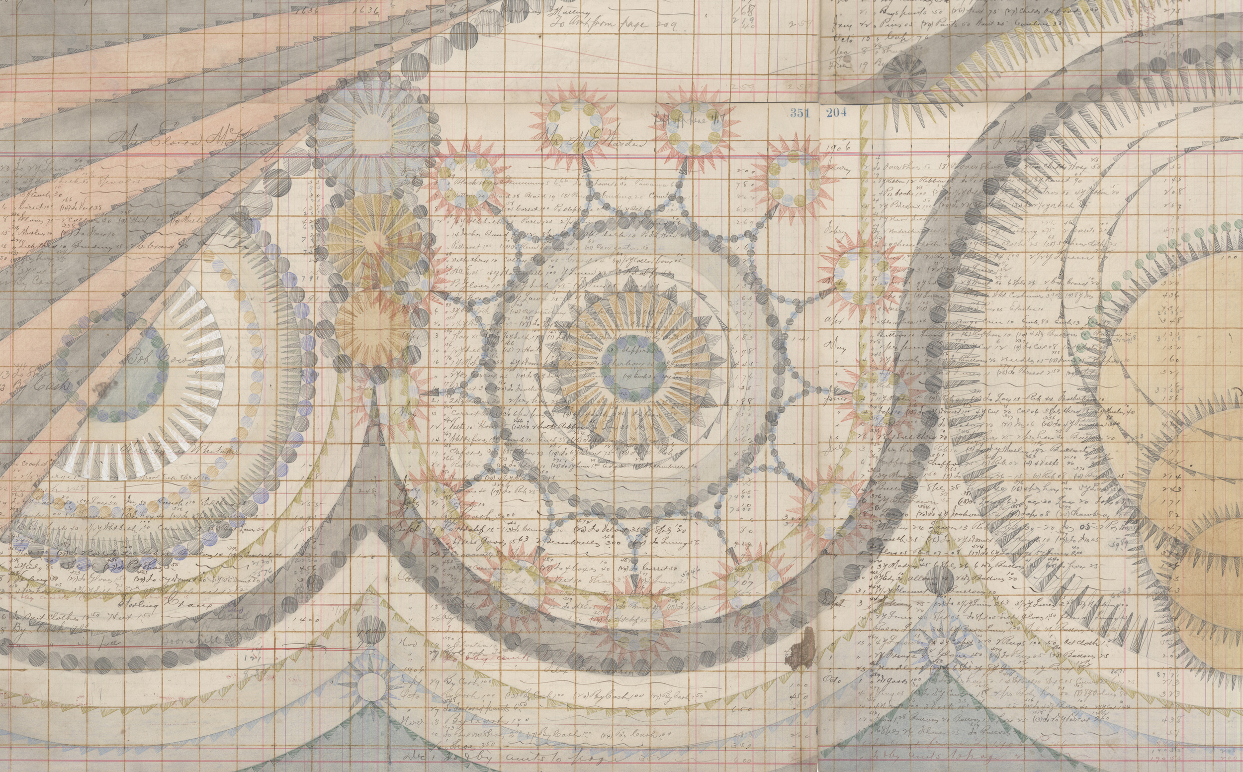 DETAIL of  Subtle and Circulatory, Female. Colored Pencil and Graphite on Antique Ledger Book Pages. 71 1/2 x 68 1/2