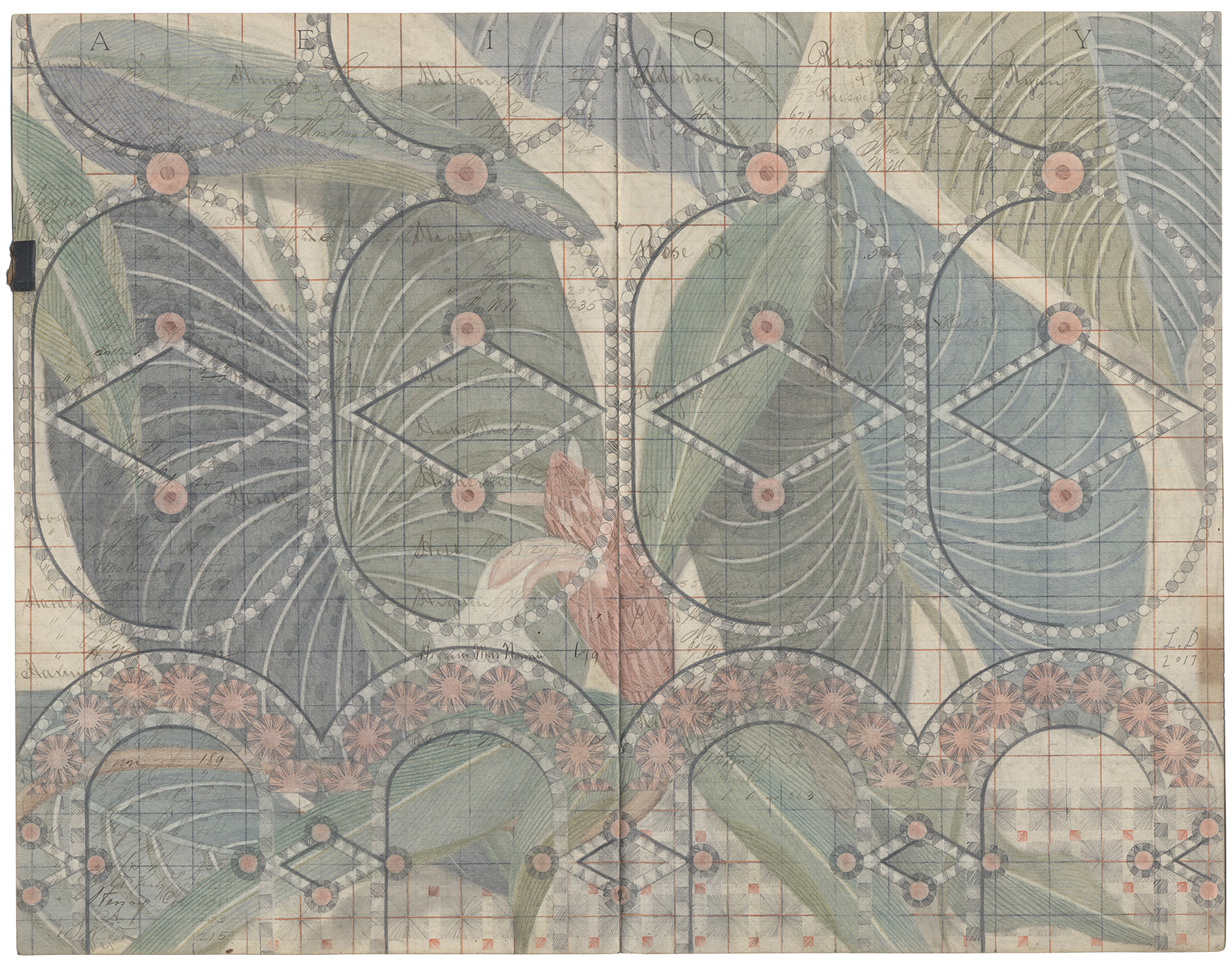 Garden Fence,Colored Pencil and Graphite on Antique Ledger Book Pages. 18 x 23 inches
