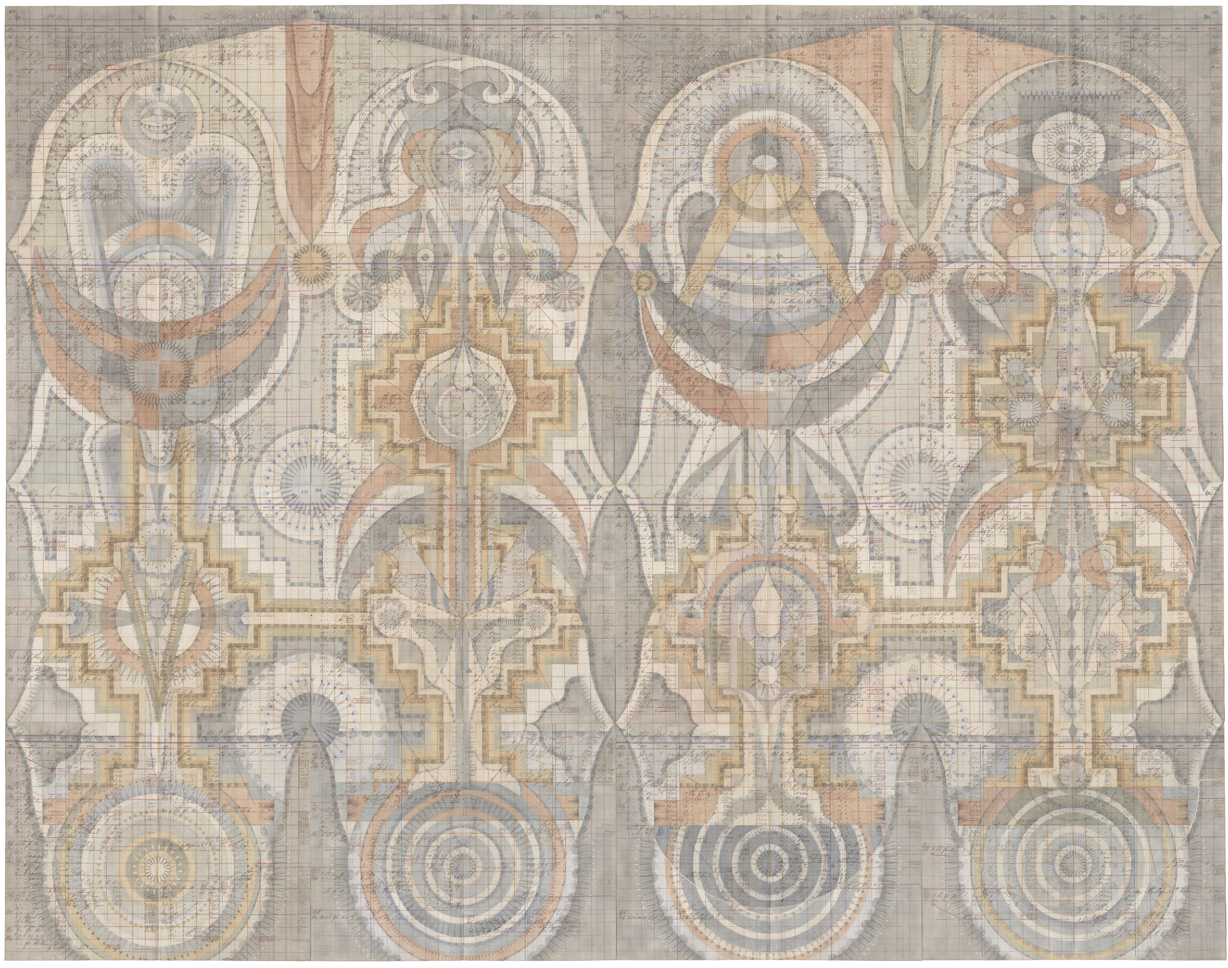 Stepwell Figures,Colored Pencil and Graphite on Antique Ledger Book Pages. 78 x 94.5 inches