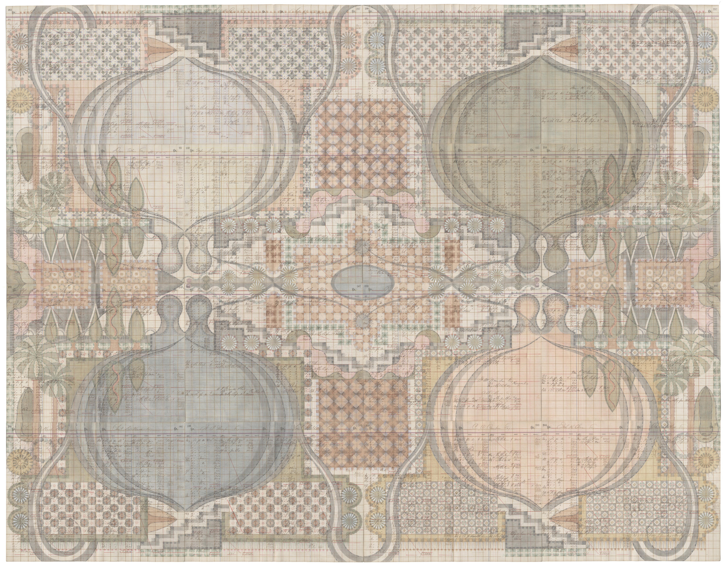 Stepwell Garden, Colored Pencil and Graphite on Antique Ledger Book Pages. 78 x 94.5 inches