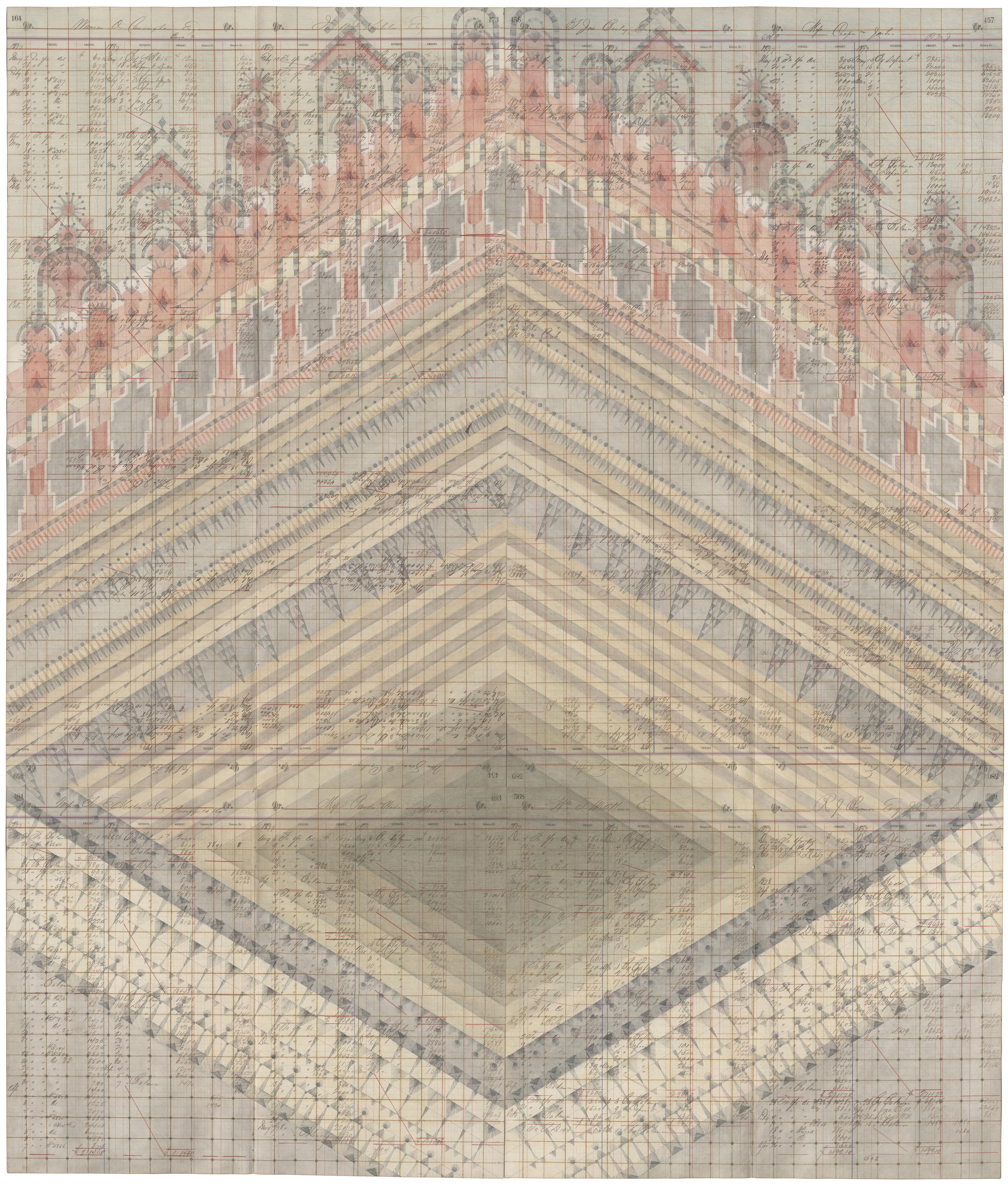 Diamond Stepwell, Colored Pencil and Graphite on Antique Ledger Book Pages. 55.5 x 47 inches