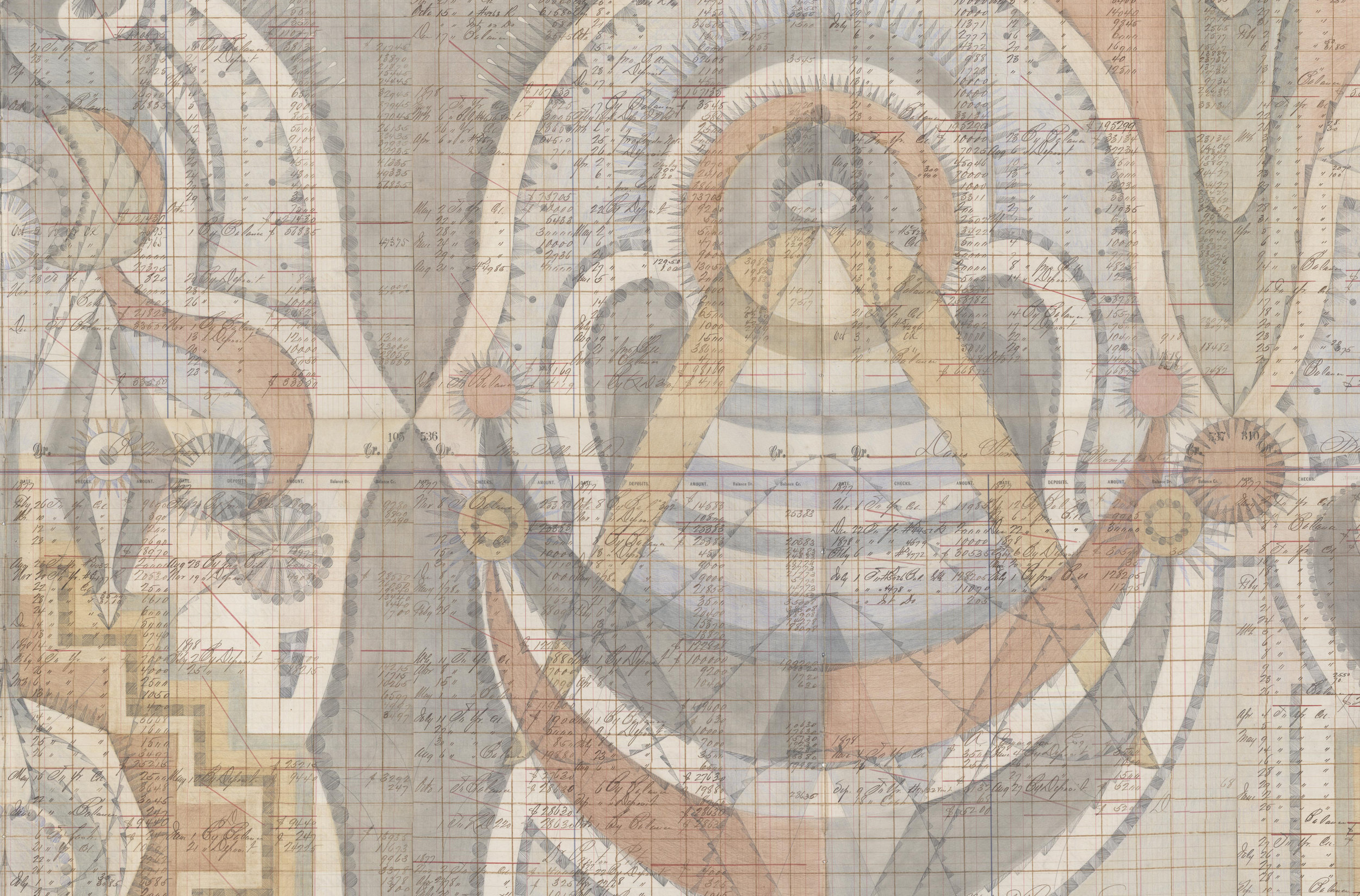 DETAIL of Stepwell Figures,Colored Pencil and Graphite on Antique Ledger Book Pages. 78 x 94.5 inches