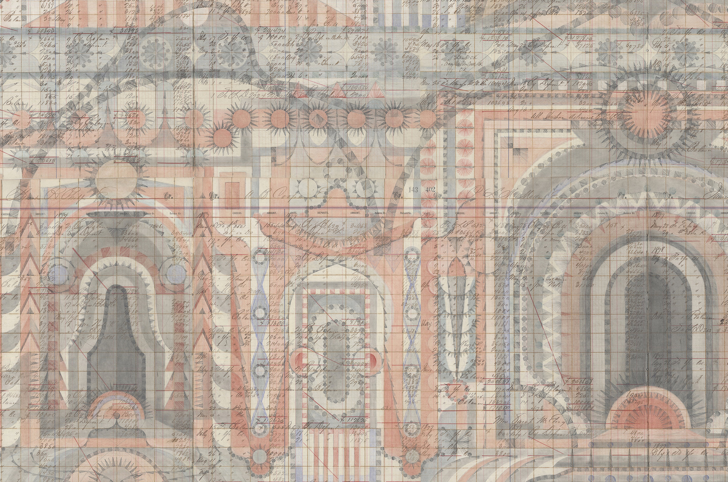 DETAIL of Fort, Colored Pencil and Graphite on Antique Ledger Book Pages. 75 x 71 inches