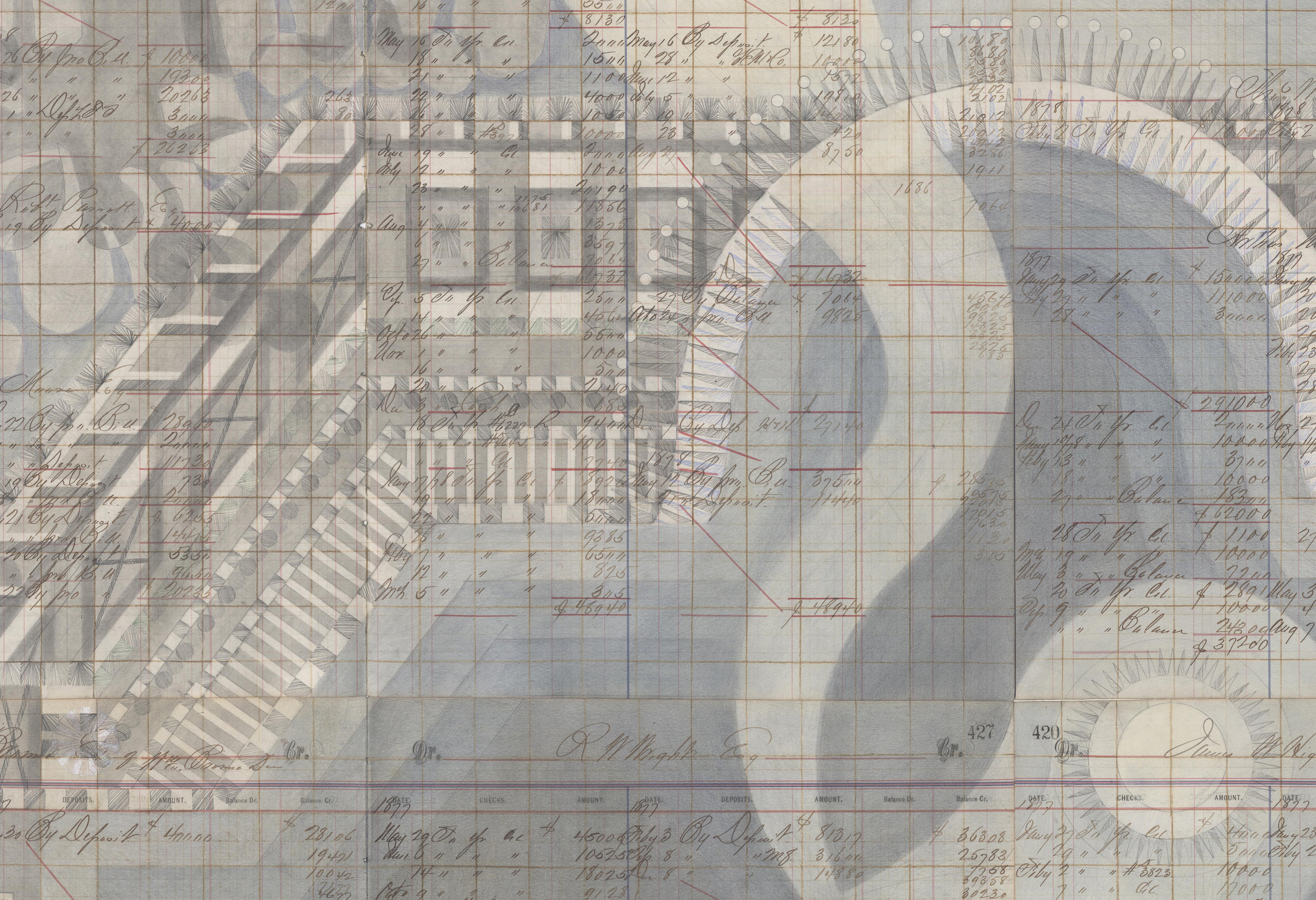 DETAIL of Water Temple,Colored Pencil and Graphite on Antique Ledger Book Pages. 55.5 x 47 inches