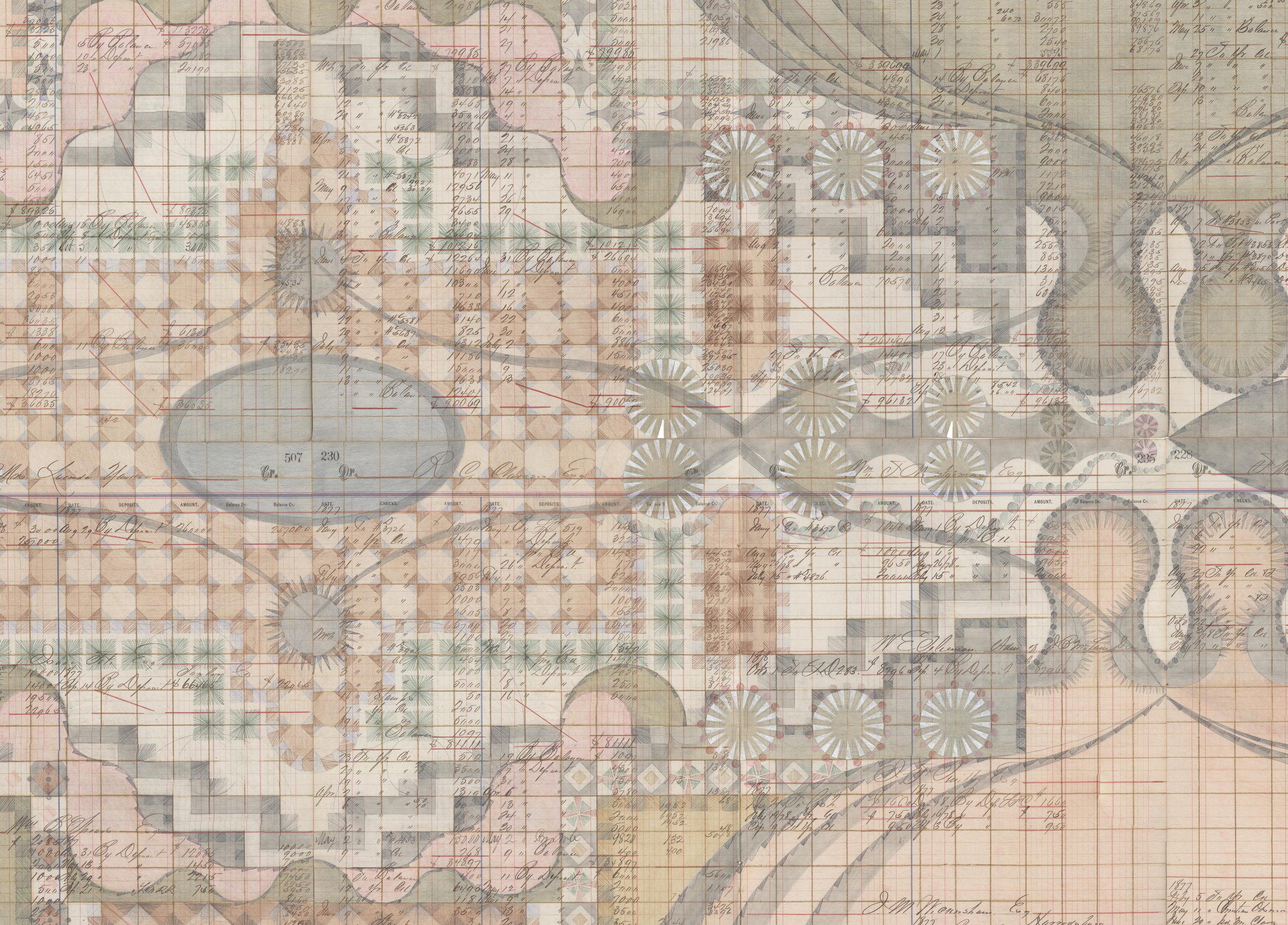 DETAIL of Stepwell Garden, Colored Pencil and Graphite on Antique Ledger Book Pages. 78 x 94.5 inches
