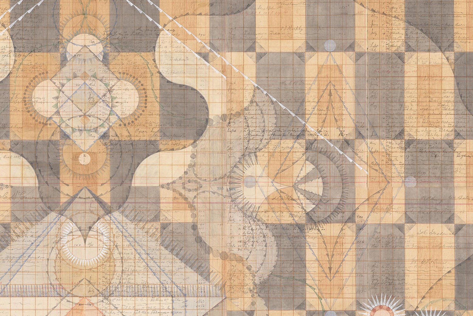 DETAIL of  Source. Colored Pencil and Graphite on Antique Ledger Book Pages. 71 1/2 x 68 1/2