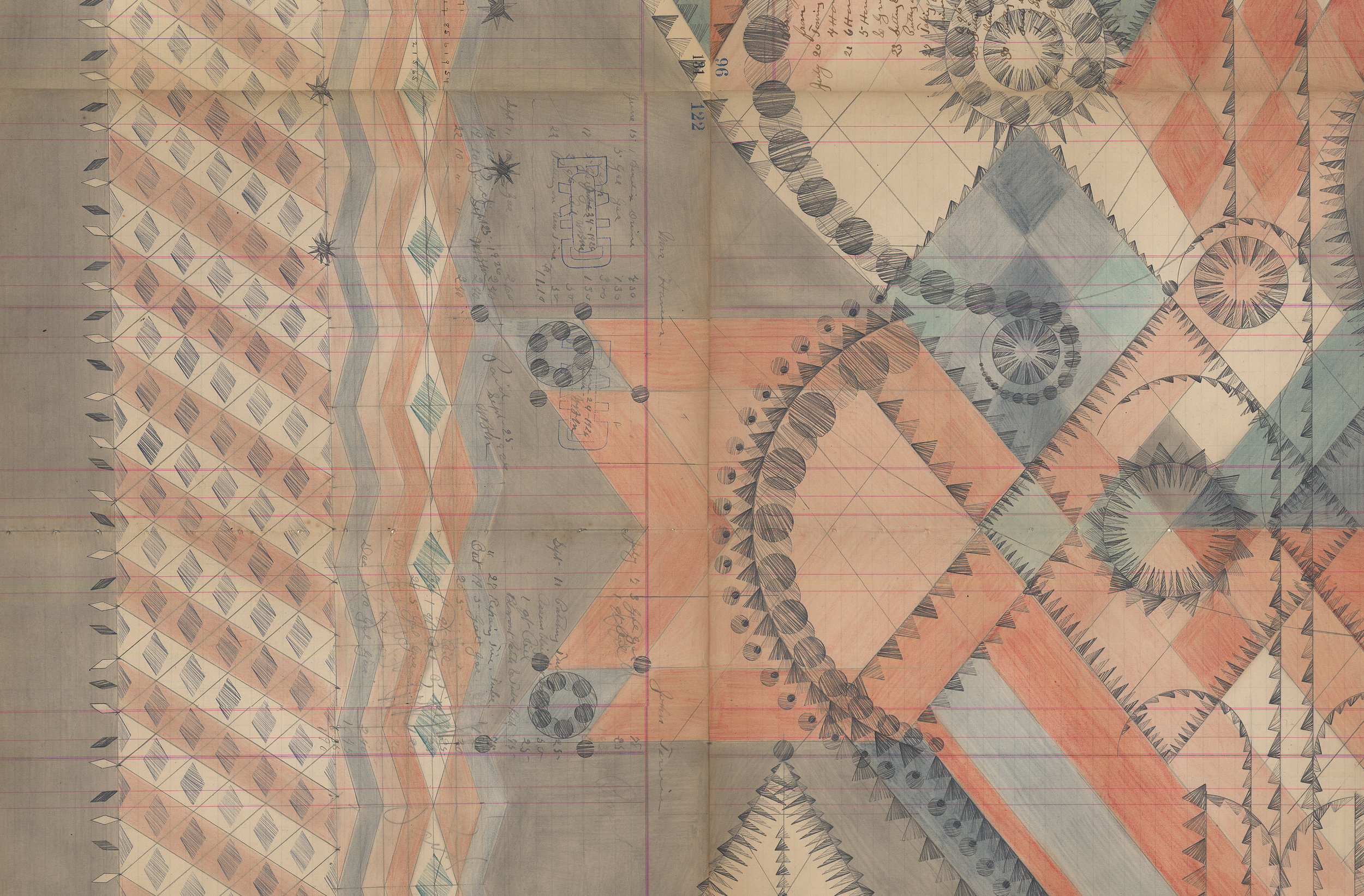 DETAIL of Jester With Crow,Colored Pencil and Graphite on Antique Ledger Book Pages.82.5 x 54