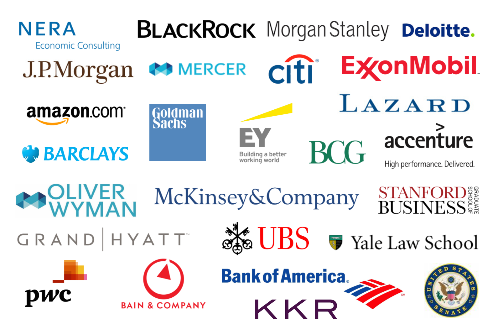 Firms where our recent alumni have interned and worked, and graduate schools they have been accepted to.