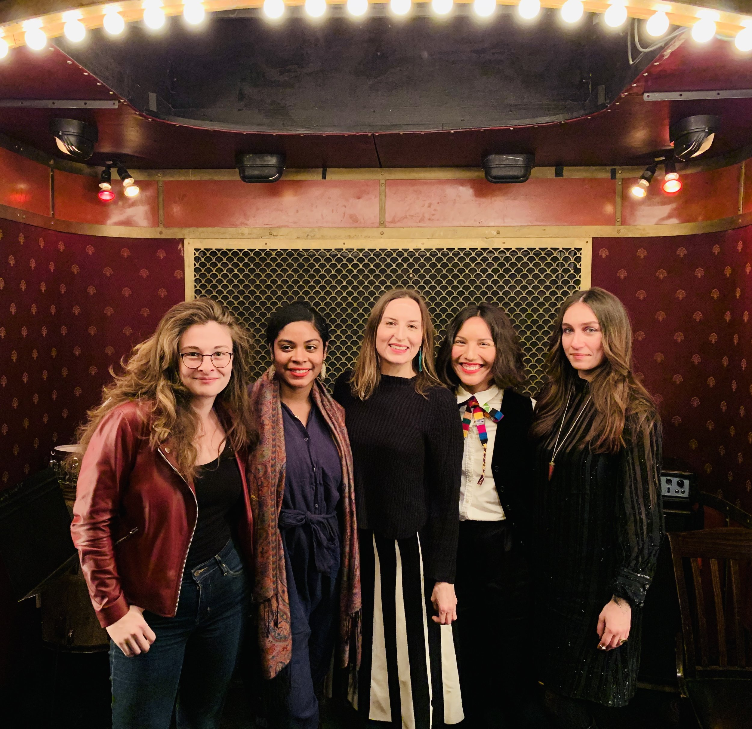 Kaytlin Bailey, Ananda Ambrose, Sarah Dohrmann [instructor], Aleksa Brown, and Liza Buzytsky at the DIVING 2.0 reading at Pete's Candy Store in Williamsburg, Brooklyn, December 22, 2018.