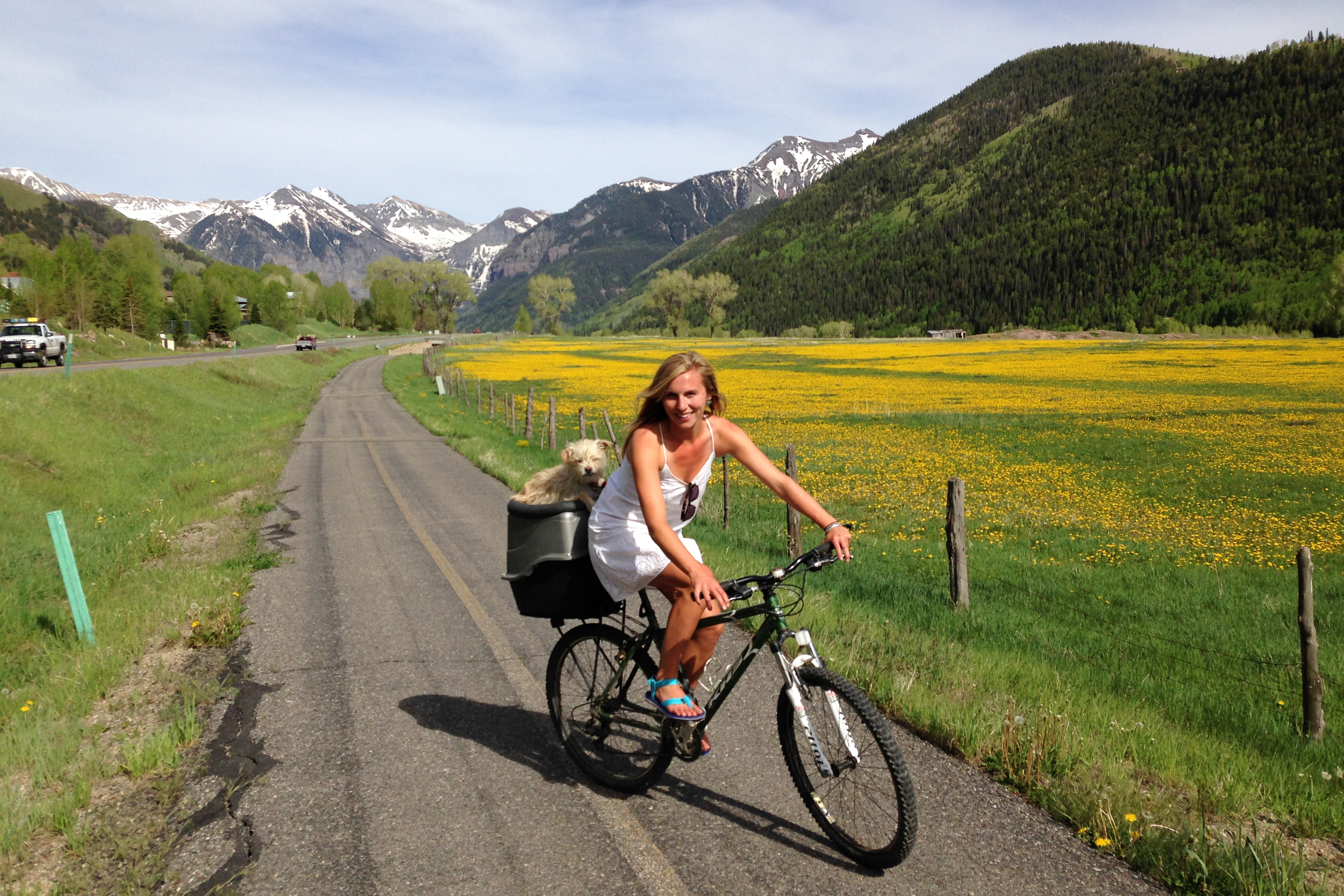We stopped in Telluride in route to Moab, which we never ended up making it to (more on that later). We camped up on a pass outside of town, which allowed us to bike into town on their picturesque path everyday. Gromit loves any chance he gets to ride in the pooch pod.