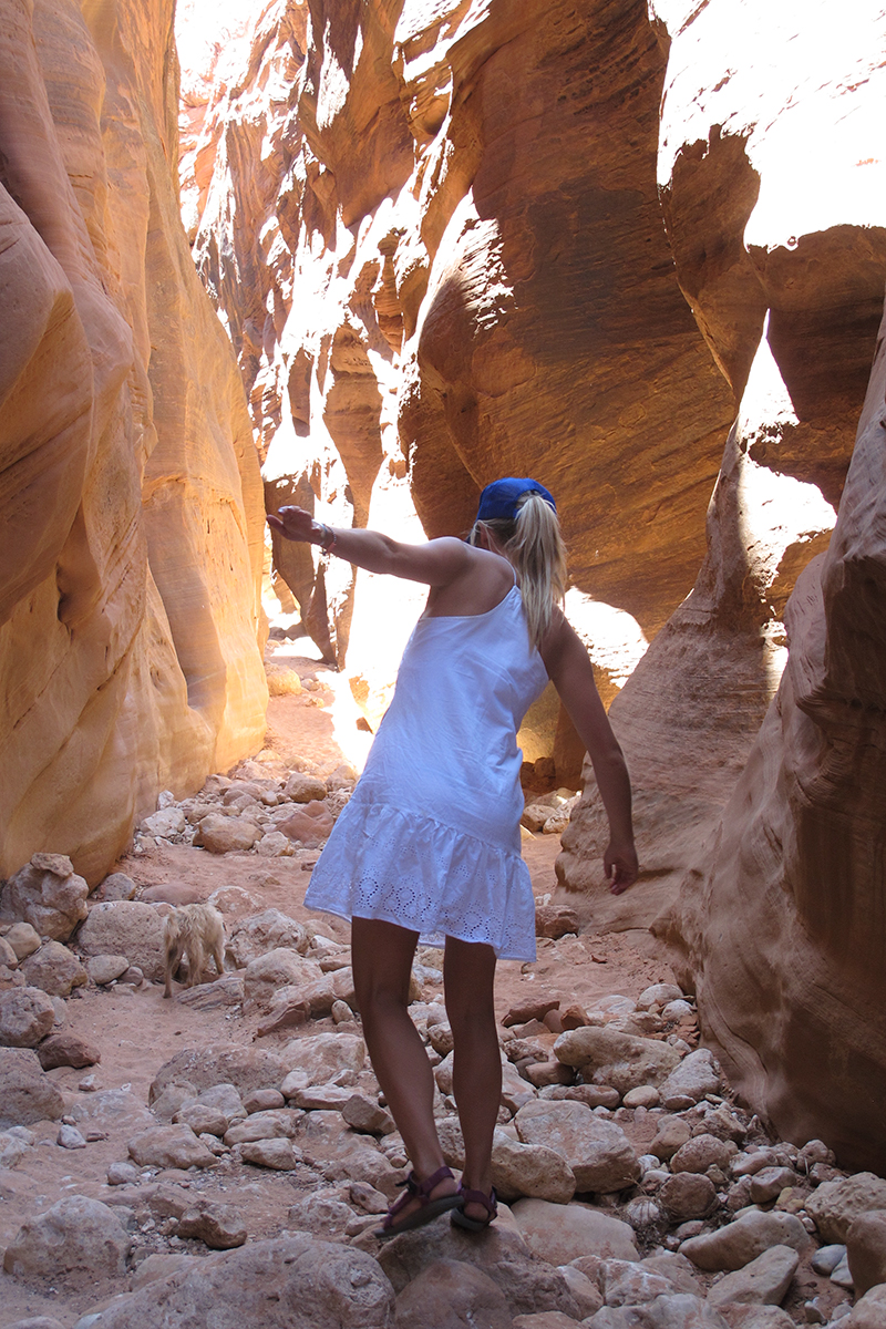 Once we reached the slot canyons they continued on for miles. It was shaded and cool beneath the red walls.