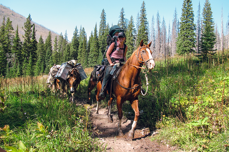 On the first day, we encountered this badass woman with her one year old baby strapped to her back. They were packing out after a week of camping and fishing. She told us she brought so many pack horses so that she had EVERYTHING the baby needed. Pretty inspiring!