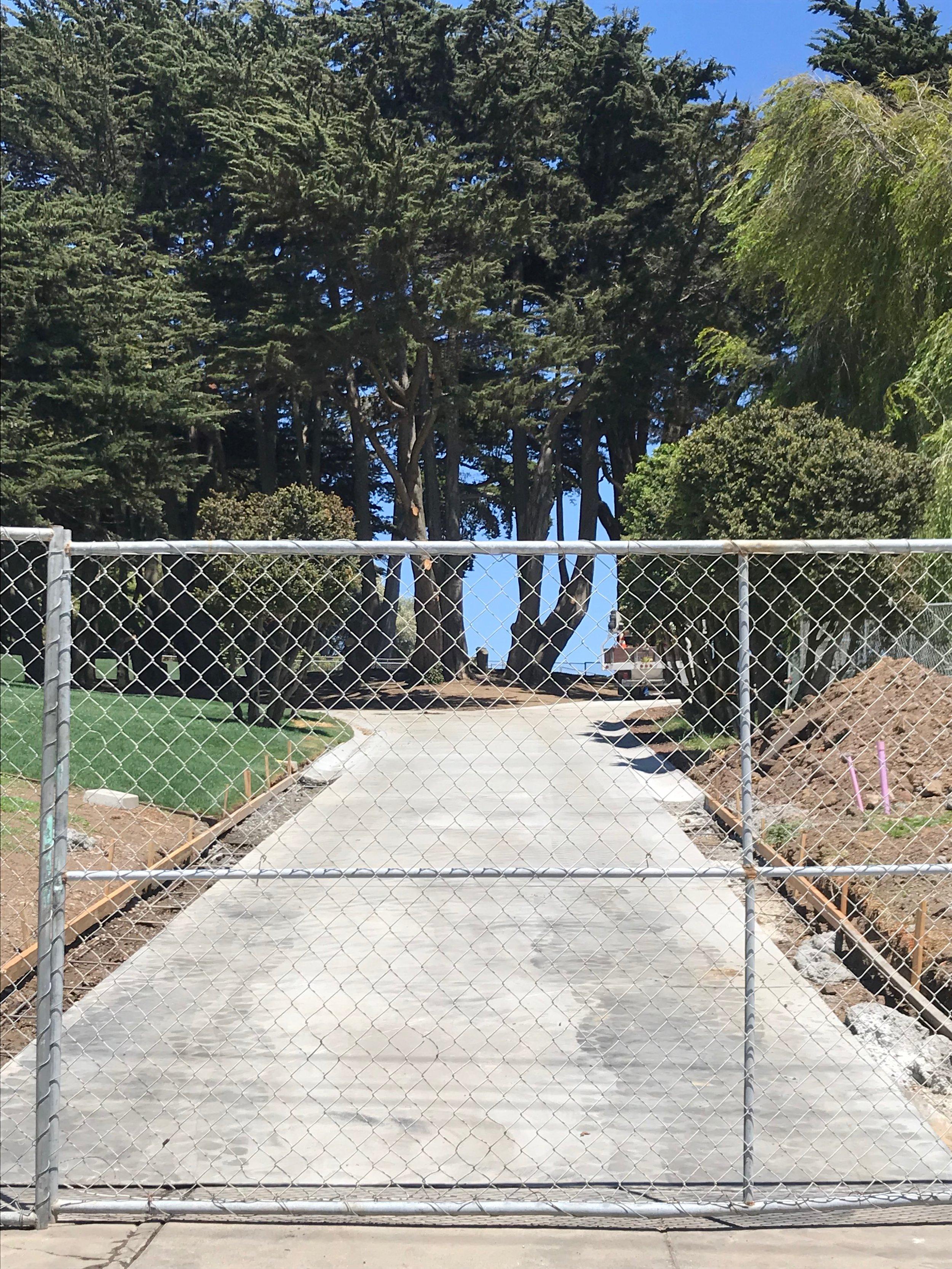 Renovated pathway at Washington & Scott under construction