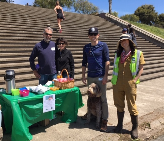 Enjoying refreshments are volunteers Janet and Greg Goff with FOAPP board member Stephen Henry and his dog Posey, along with gardener Emma Theoni.