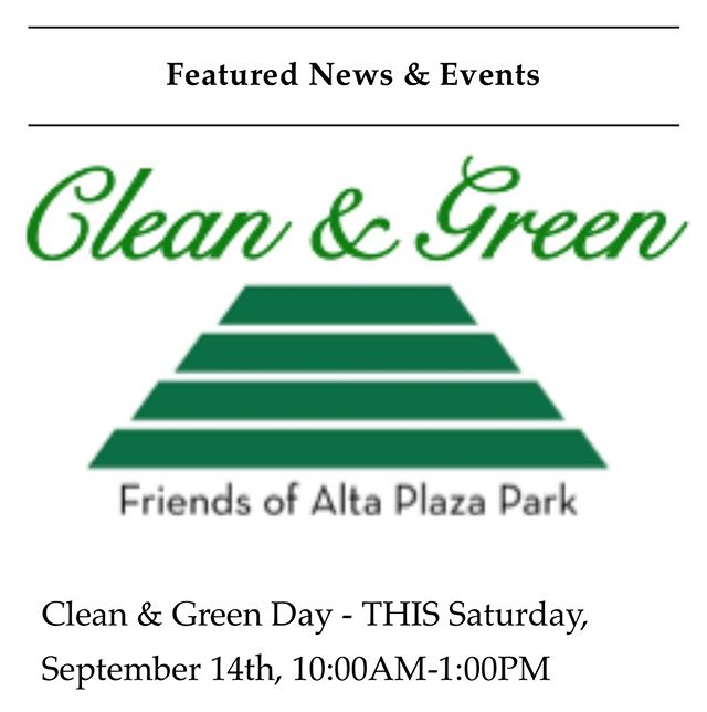 Join us THIS Saturday! More details at altaplazapark.com @friendsofaltaplazapark #altaplazapark