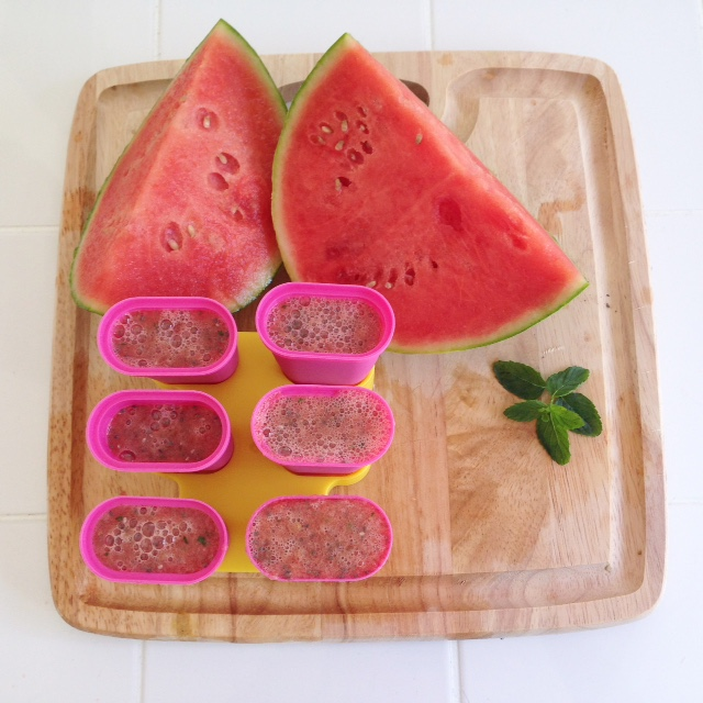 Ingredients:   - 1 small watermelon  - 4 tbsp. chia seeds  - handful fresh mint     Directions:   Place the watermelon, mint & chia seeds into the blender and puree until well blended  Once the mix is well mixed without any remaining watermelon chunks, place the mix into the popsicle containers  Place into the freezer until the pops are completely frozen  (*any extra mix can be kept as watermelon juice, best served over ice, or made into more pops!)  Enjoy!