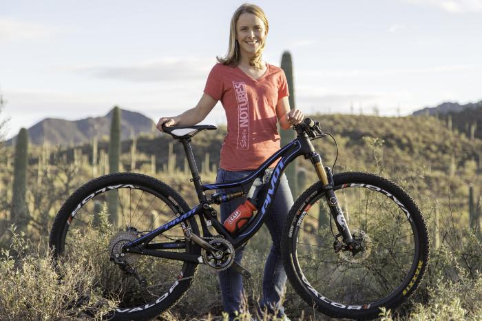 Chloe Woodruff with her Pivot Mach 4 and Stan's Valor wheels. Photo: Alex Gonzalez