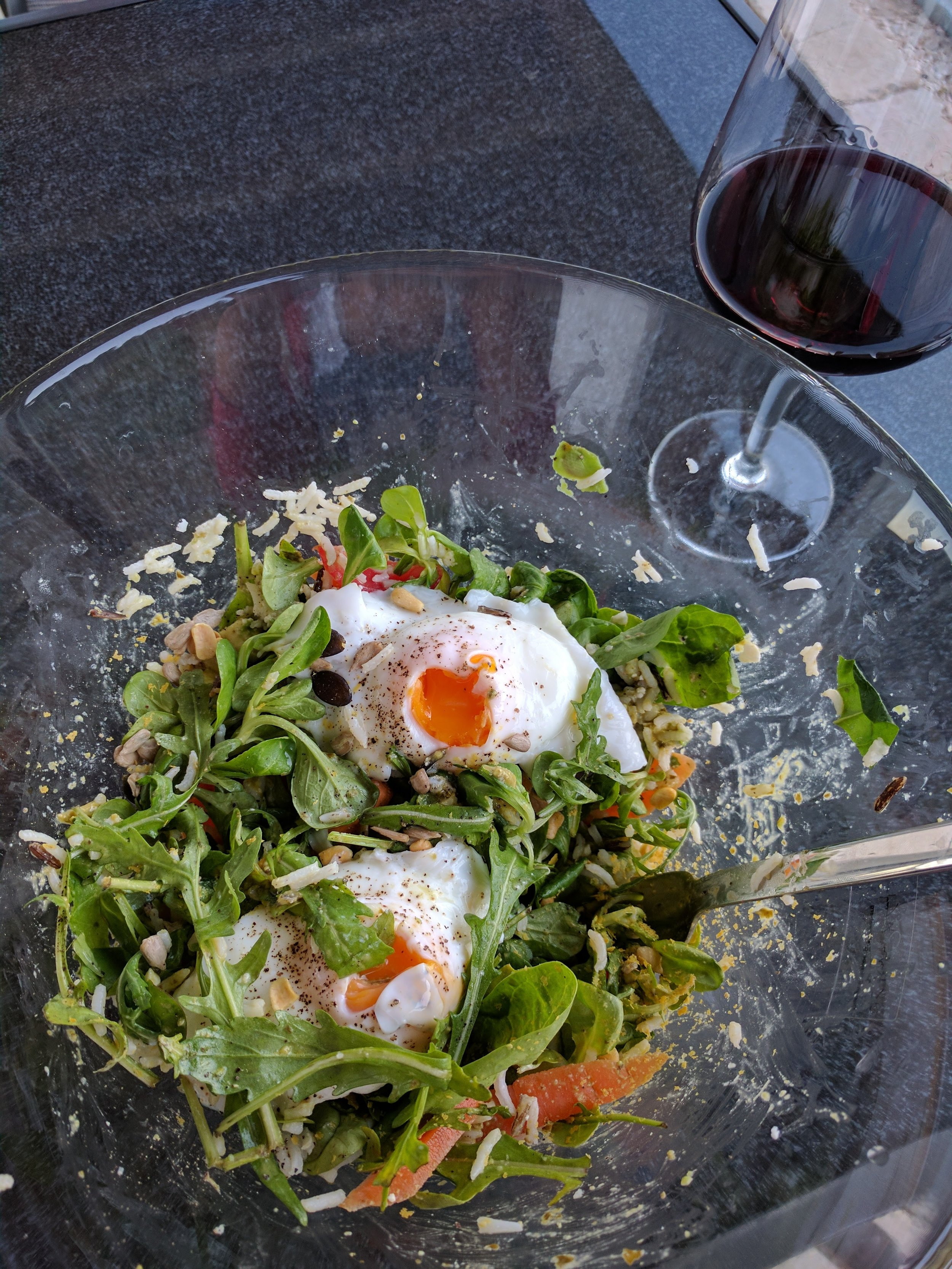 Dinner by Chloe - Start with rice, make a tasty dressing, throw in some greens, some nuts and/or seeds, a cheese, and finish with some eggs on top. And then add some wine.