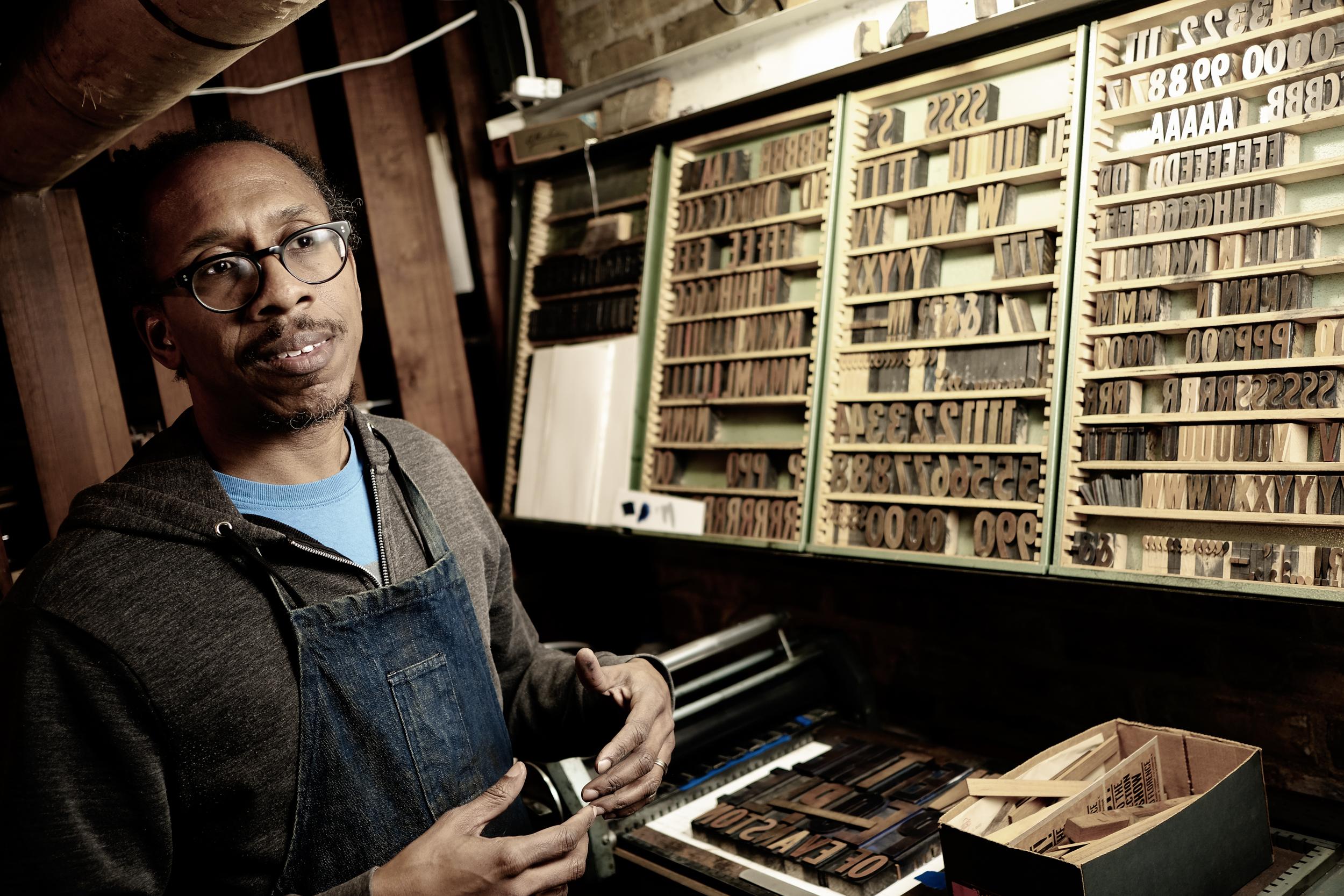 Ben Blount in his letter press studio
