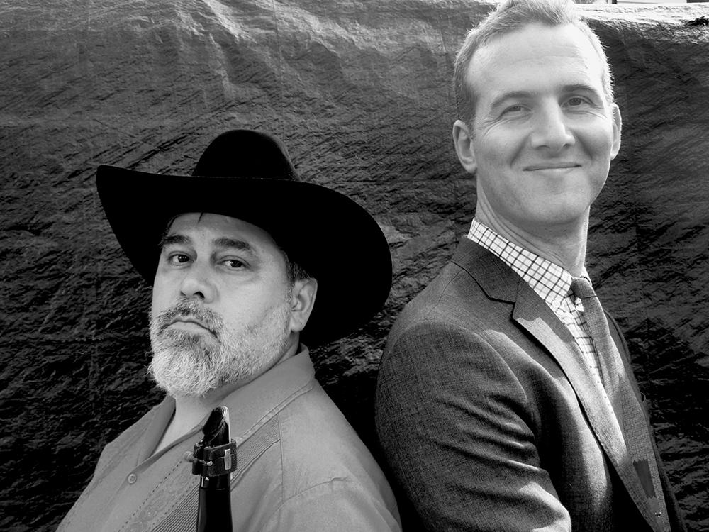 Oscar Noriega, left and Jacob Garchik, right, the co-leaders of Banda De Los Muertos