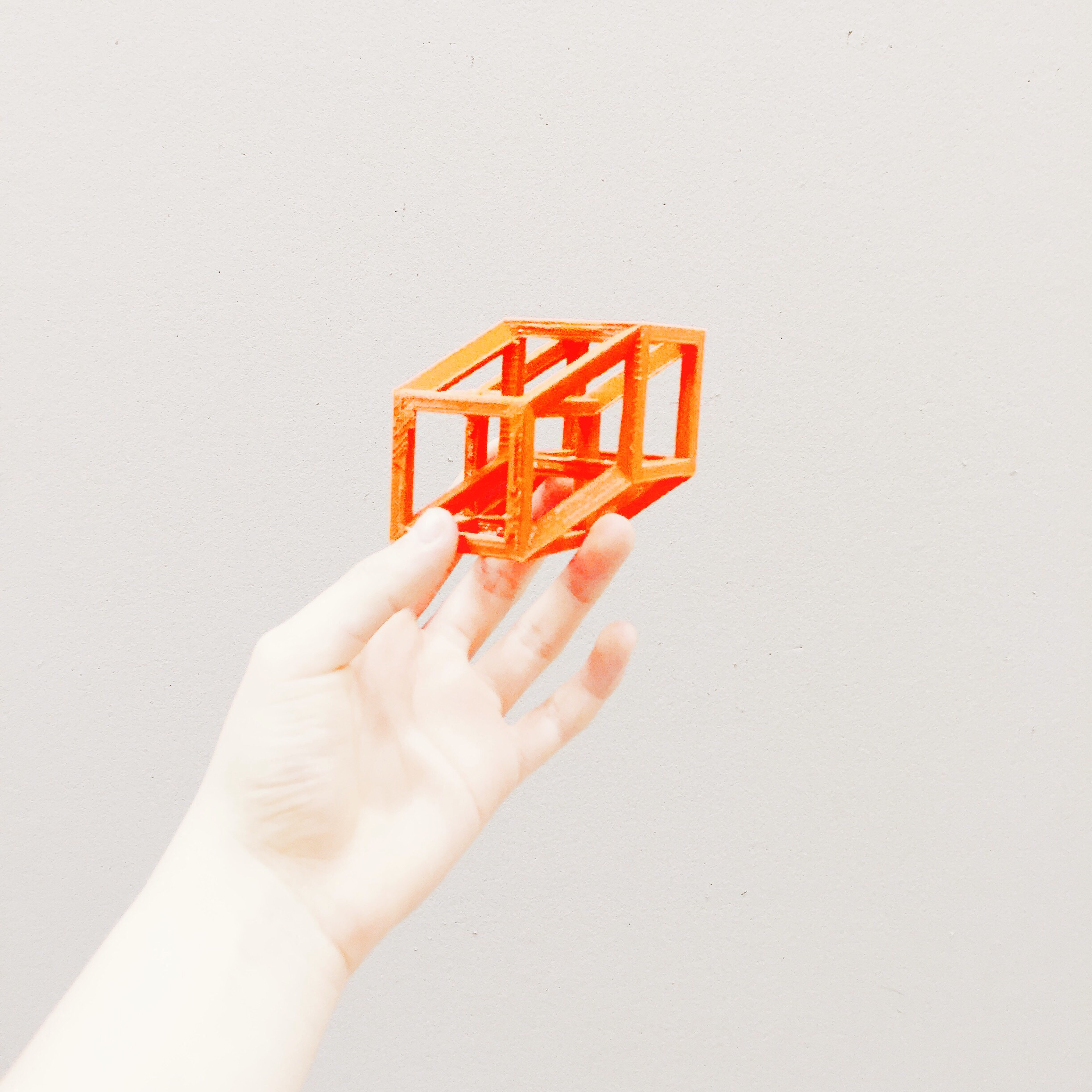 4D printed hypercube in 3D